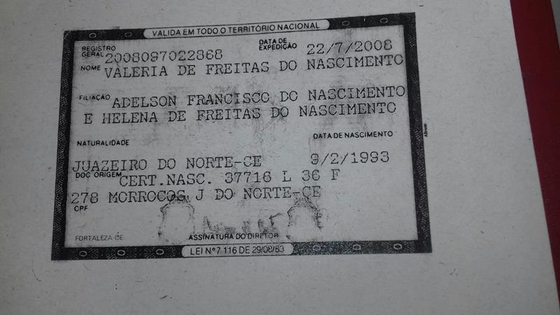 VALERIA DE FREITAS NASCIMENTO, 23 anos de idade que morava rua Sao Bento, bairro Franciscanos, em Juazeiro (1)
