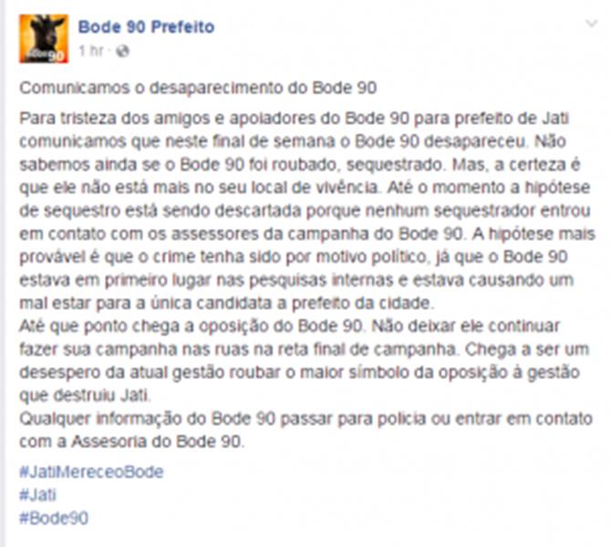 A candidatura do animal surgiu como forma de protesto de um grupo de jovens opositores à atual prefeita que tenta reeleição no município.