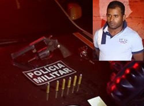 Acusado de homicídio, roubo de carga e outros delitos preso em Crato pela polícia militar.