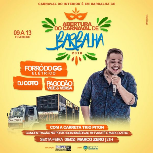 Barbalha terá shows gratuitos no Carnaval 2018