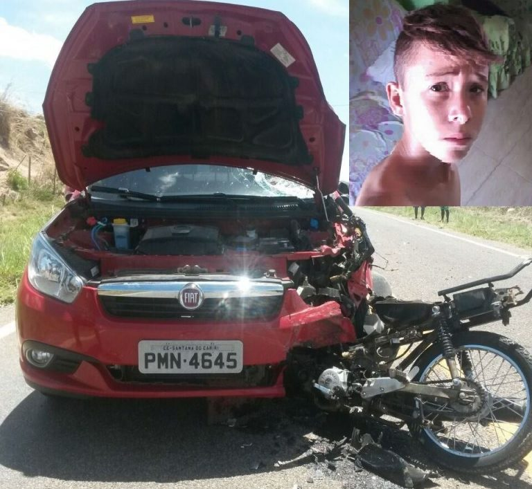 Adolescente de  14 anos  morre após  moto em que trafegava  pela CE 166 colidi com automóvel, em Santana do Cariri