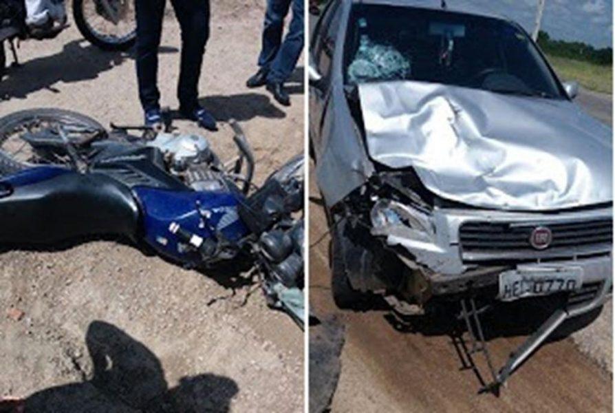 Colisão entre moto e automóvel na BR 230 em Lavras da Mangabeira mata homem de 79 anos
