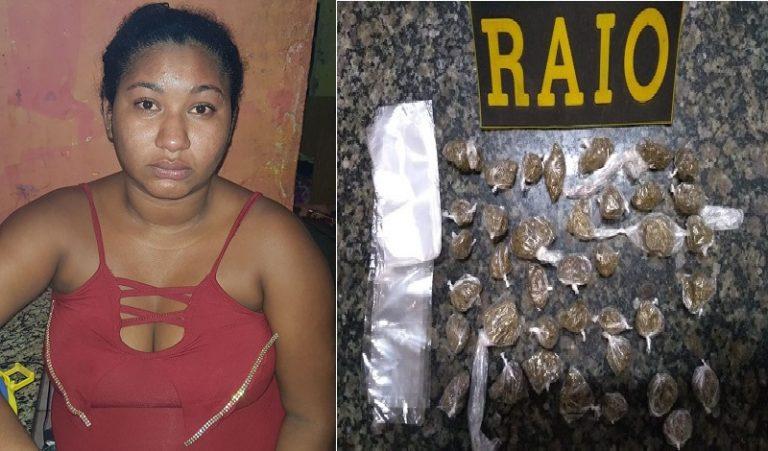 Em Crato, polícia militar prende mulher por trafico de drogas no bairro Muriti