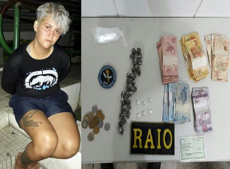 Mulher é presa em Juazeiro ao ser flagrada pelo Raio de posse de maconha, crack, cocaína no frei Damião