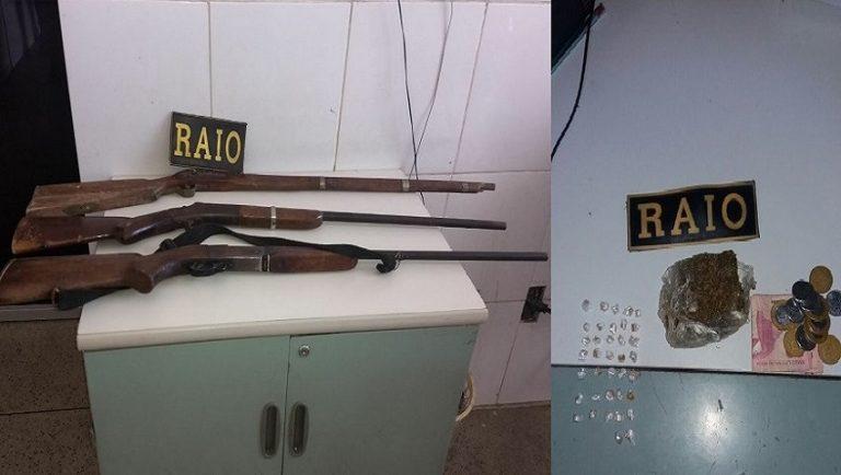 Militares do raio apreendem drogas em Crato e armas  de fogo em Barbalha