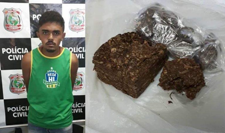 Polícia Civil    de Aurora prende homem acusado de envolvimento com o tráfico de drogas