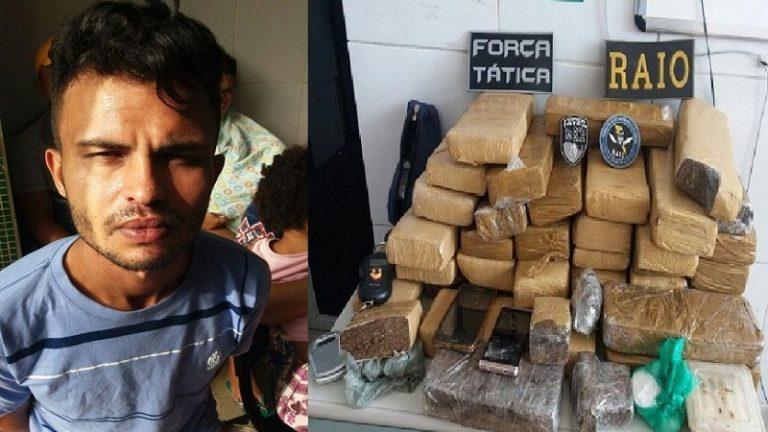 Casal é flagrado de posse de 36,790Kg de maconha; 143 gramas de cocaína; 188 gramas e de pasta base, em Juazeiro do Norte