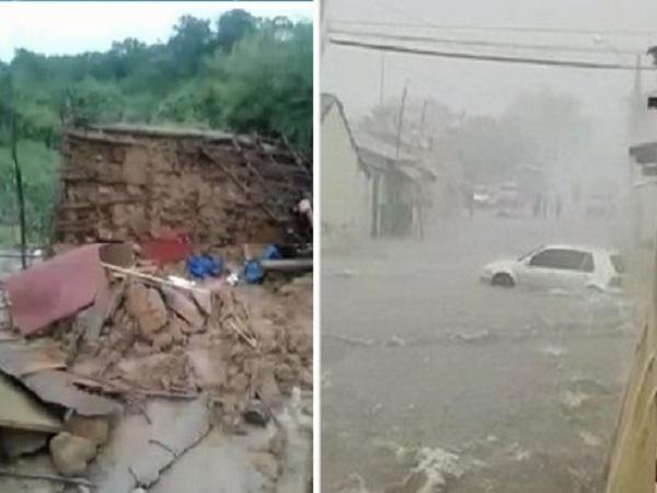 Chuva de 92 mm em Mauriti alaga cidade e causa desabamento