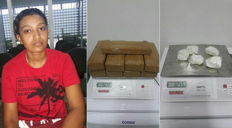 Mulher  foi presa em Assaré-CE de posse de mais 05 quilos de drogas