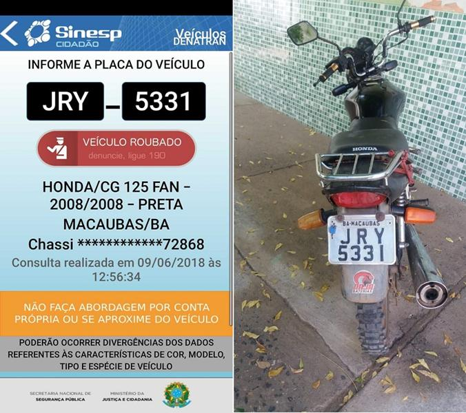 Policia de Brejo Santo recupera veiculo com queixa de roubo/furto