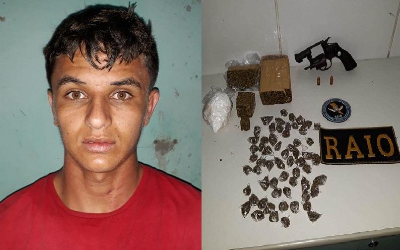 Jovem de 20 anos preso acusado de  posse ilegal de arma de fogo e drogas, em Juazeiro