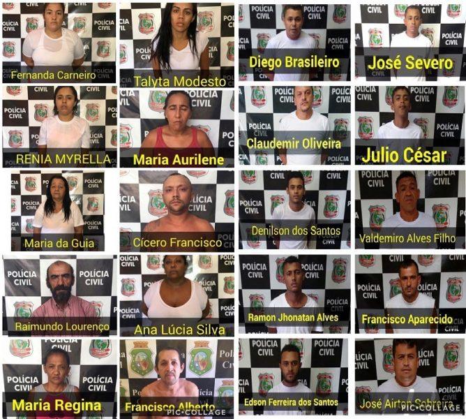 Policia Civil de Juazeiro efetua 19 prisões de envolvidos com tráfico de drogas, mais 02 em cumprimento a mandados de prisão