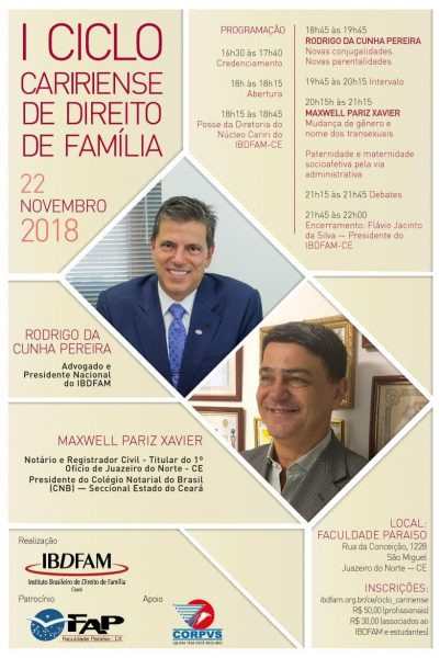 IBDFAM realiza I Ciclo Caririense de Direito de Família em Juazeiro do Norte