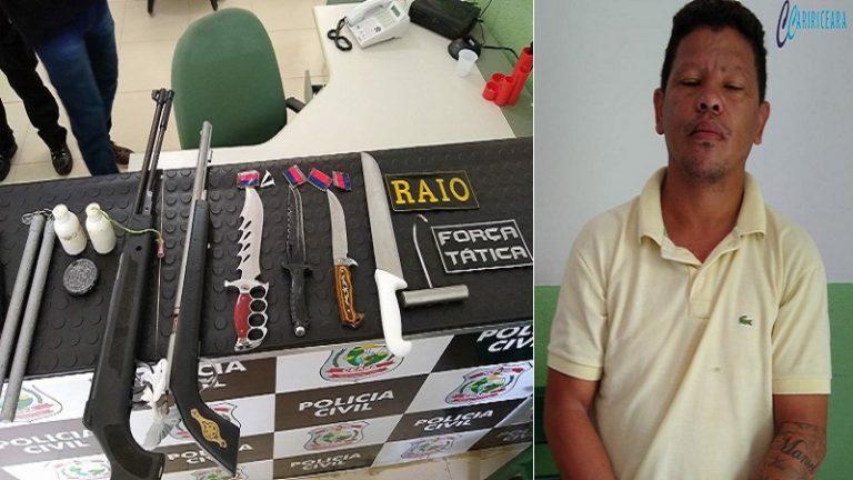 Homem de 35 anos é preso pela PM em Brejo Santo na posse de armas e entorpecentes