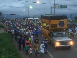 Caminhada marcou o Dia do Trabalhador no Crato, no interior do Ceará — Foto Isaac Macedo- SVM