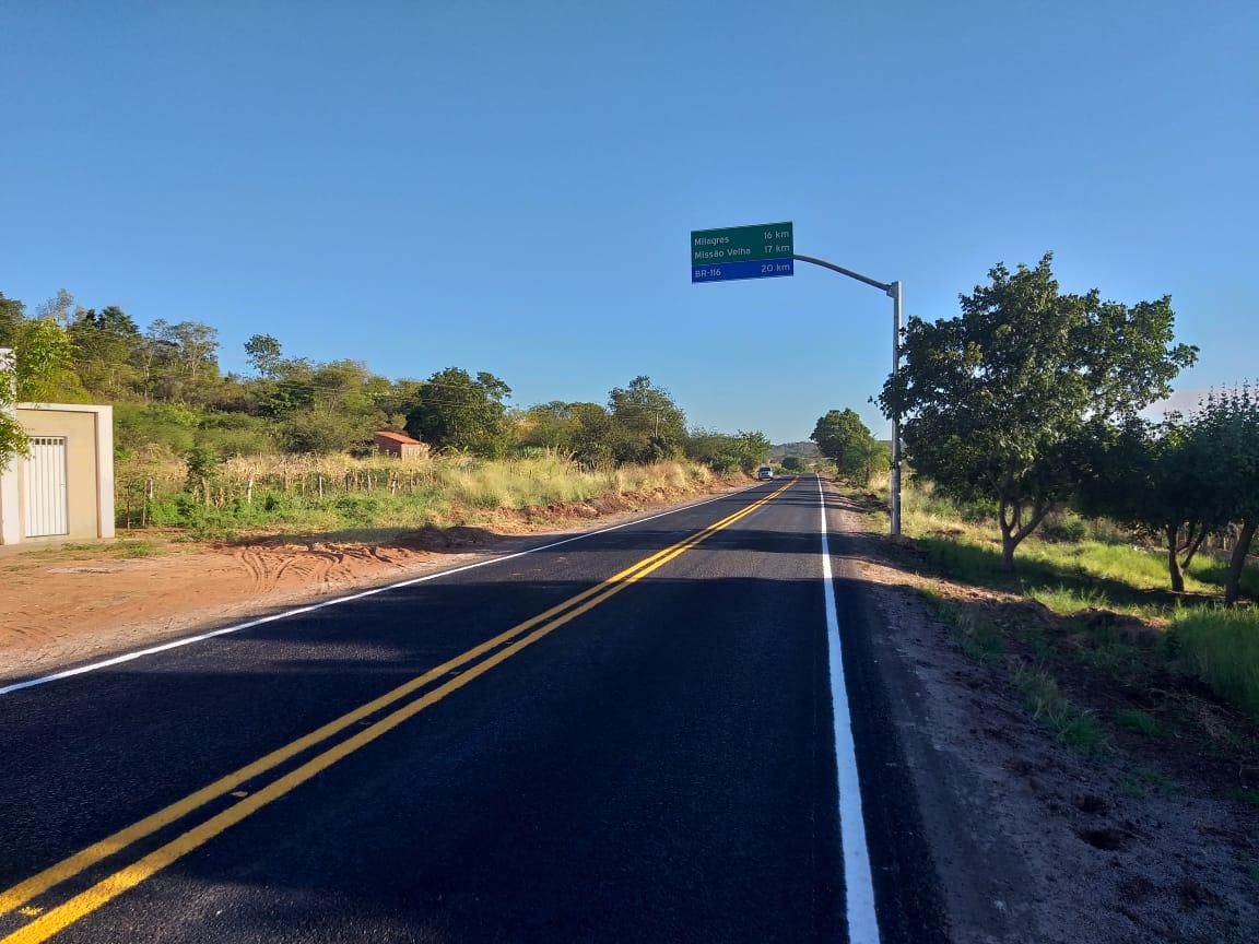 Concluída recuperação da CE-393, entre Abaiara e o distrito de Sítio Fundo