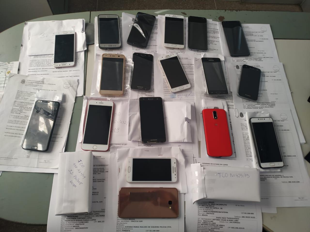 OPERAÇÃO CELLARE. Polícia Civil recupera 21 celulares roubados ou furtados no cariri