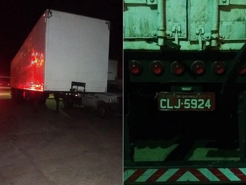 Baú semi-reboque de caminhão tomando de assalto em Sergipe é localizado abandonado em Pátio do posto de combatíveis em Brejo Santo (CE). Foto Polícia Militar do Ceará (2)