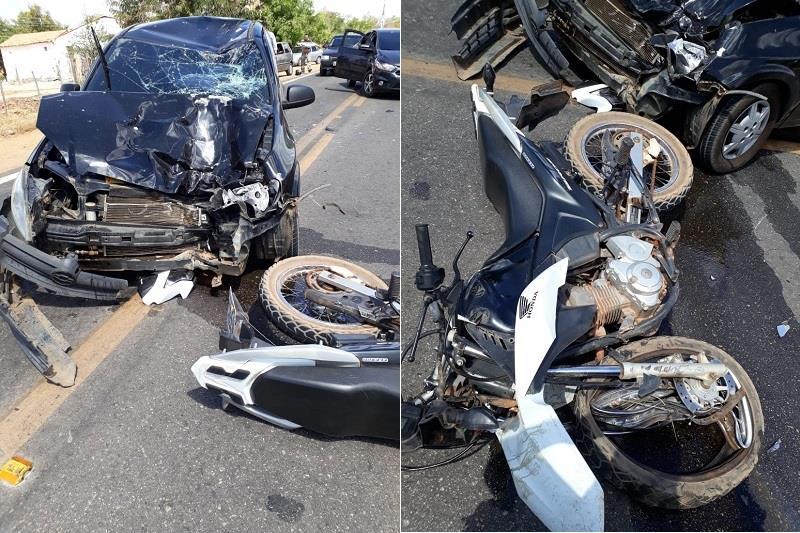 Colisão frontal entre moto e carro deixa um morto e dois feridos na CE 293 em Milagres Foto Agência Caririceara (2)