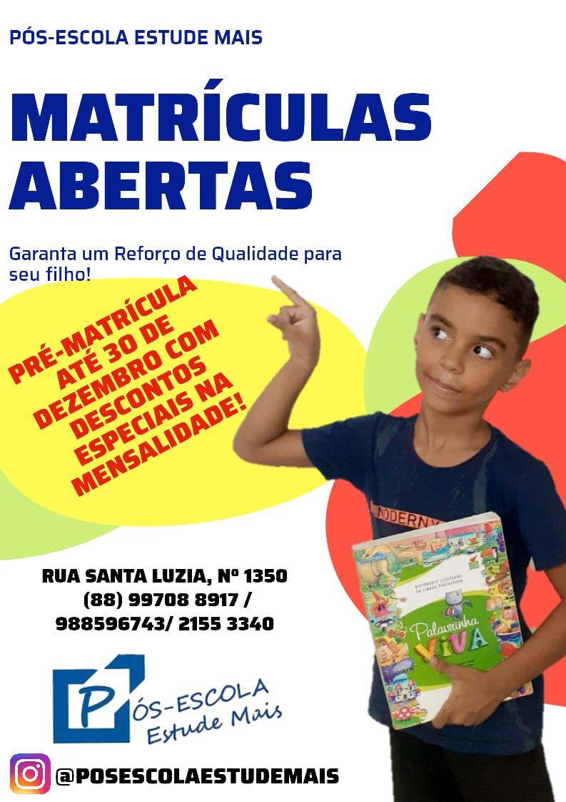 Pos-escola_MATERICULAS ABERTAS