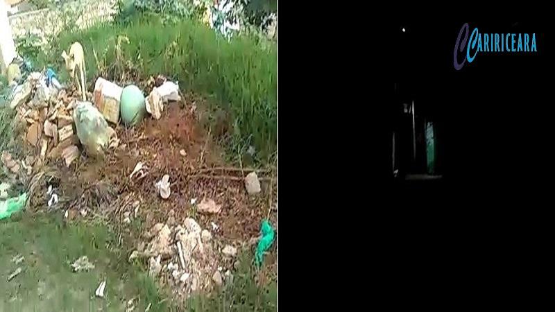 Moradores de Rua do Bairro Alto da Penha, em Crato convivem com a falta de iluminação pública e sem coleta de lixo