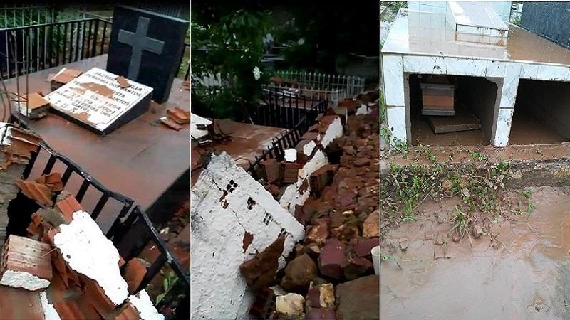 Cemitério do Crato não suporta força da chuva, muro cai e túmulos são danificados (1)