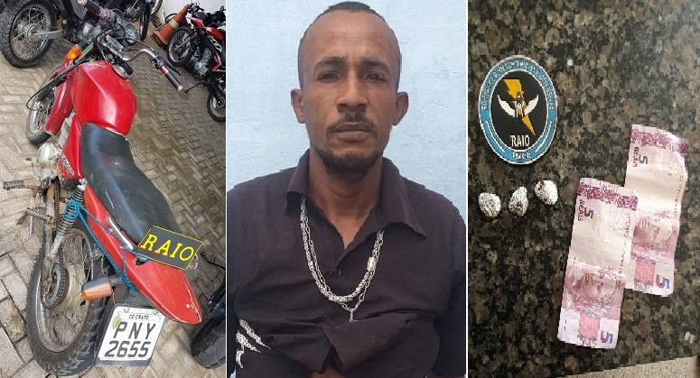 Polícia recupera moto com queixa de Roubofurto e faz apreensão de droga em Crato FOTO REDES SOCIAIS