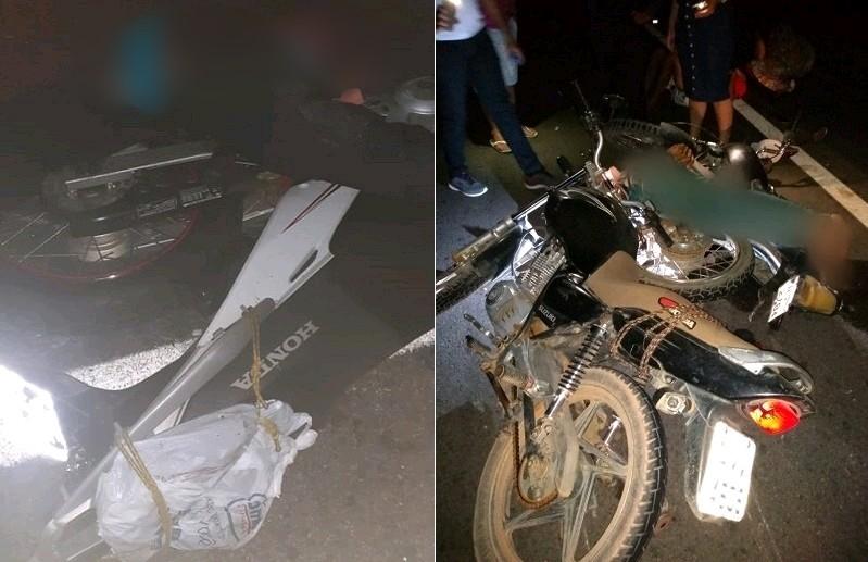 Acidentes entre motociclistas deixam quatro mortos e três feridos, dois deles em estado grave na noite deste sábado (19), no cariri FOTO REDES SOCIAIS