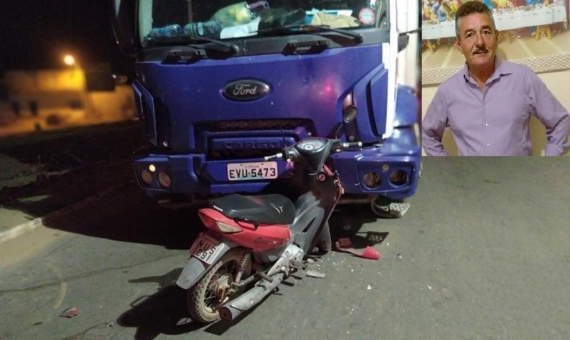 Colisão frontal entre moto e caminhão mata homem de 60 anos em Campos Sales FOTO REDES SOCIAIS