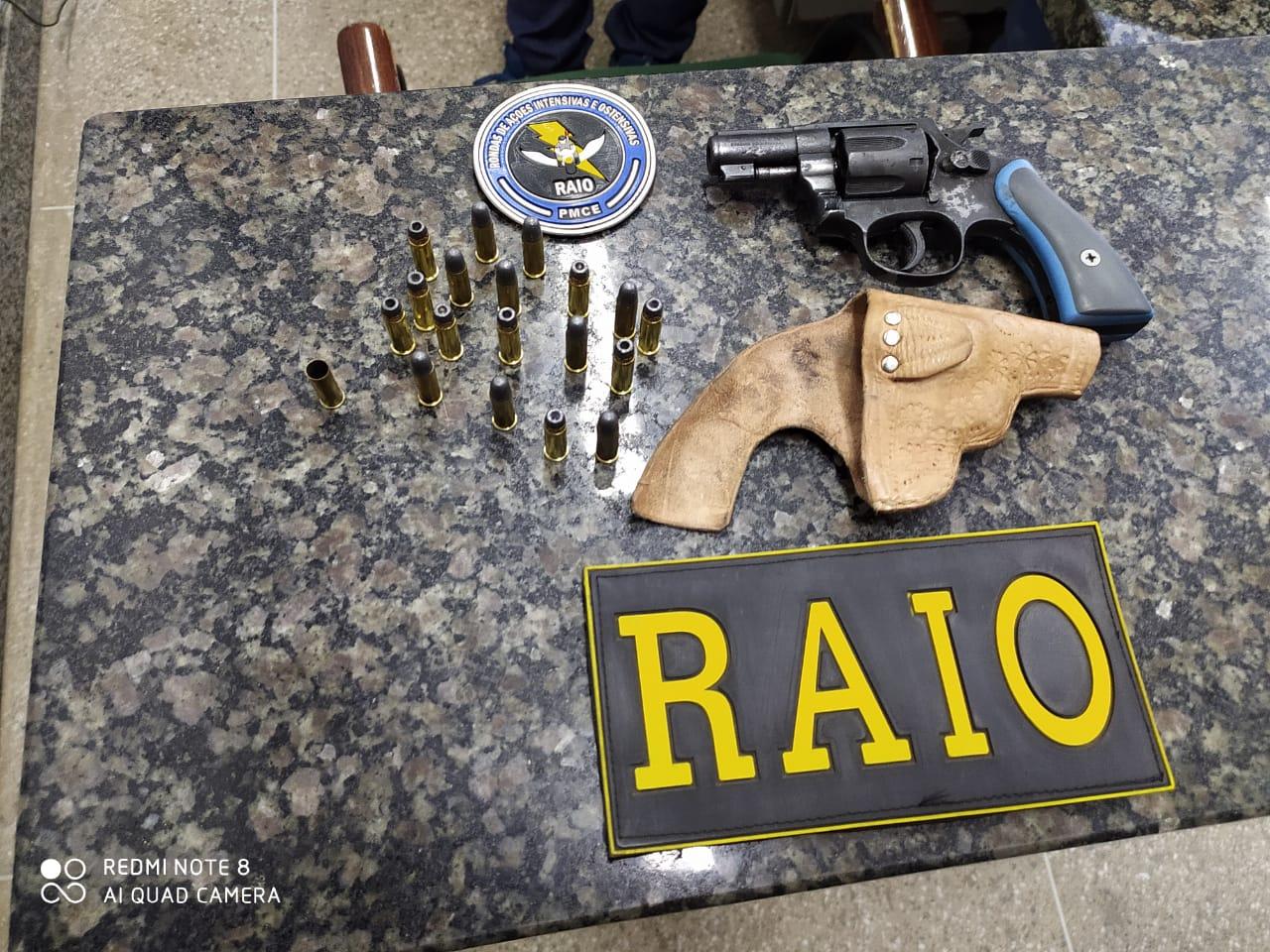 Homem de 33 anos é preso em Crato pelo Raio após efetuar disparo de arma de fogo em via pública FOTO POLÍCIA MILITAR DIVULGAÇÃO