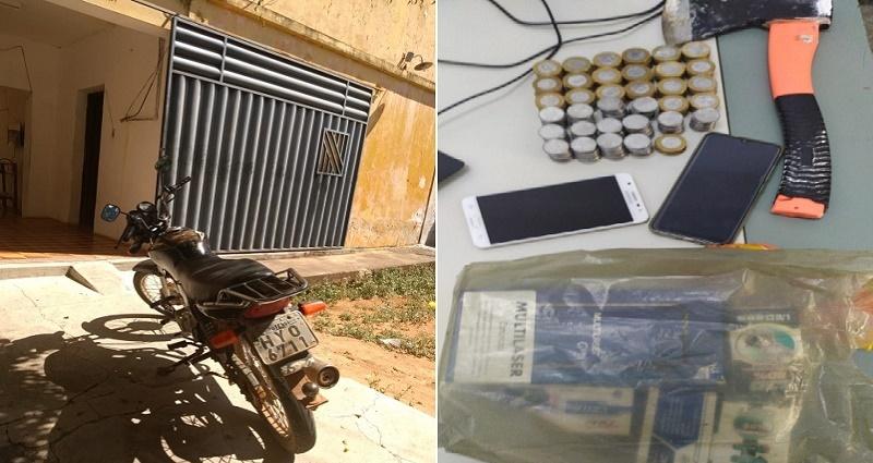 PM de Potengi apreende dupla de arrombadores e recupera produtos furtados em estabelecimentos comerciais do município FOTO REDES SOCIAIS