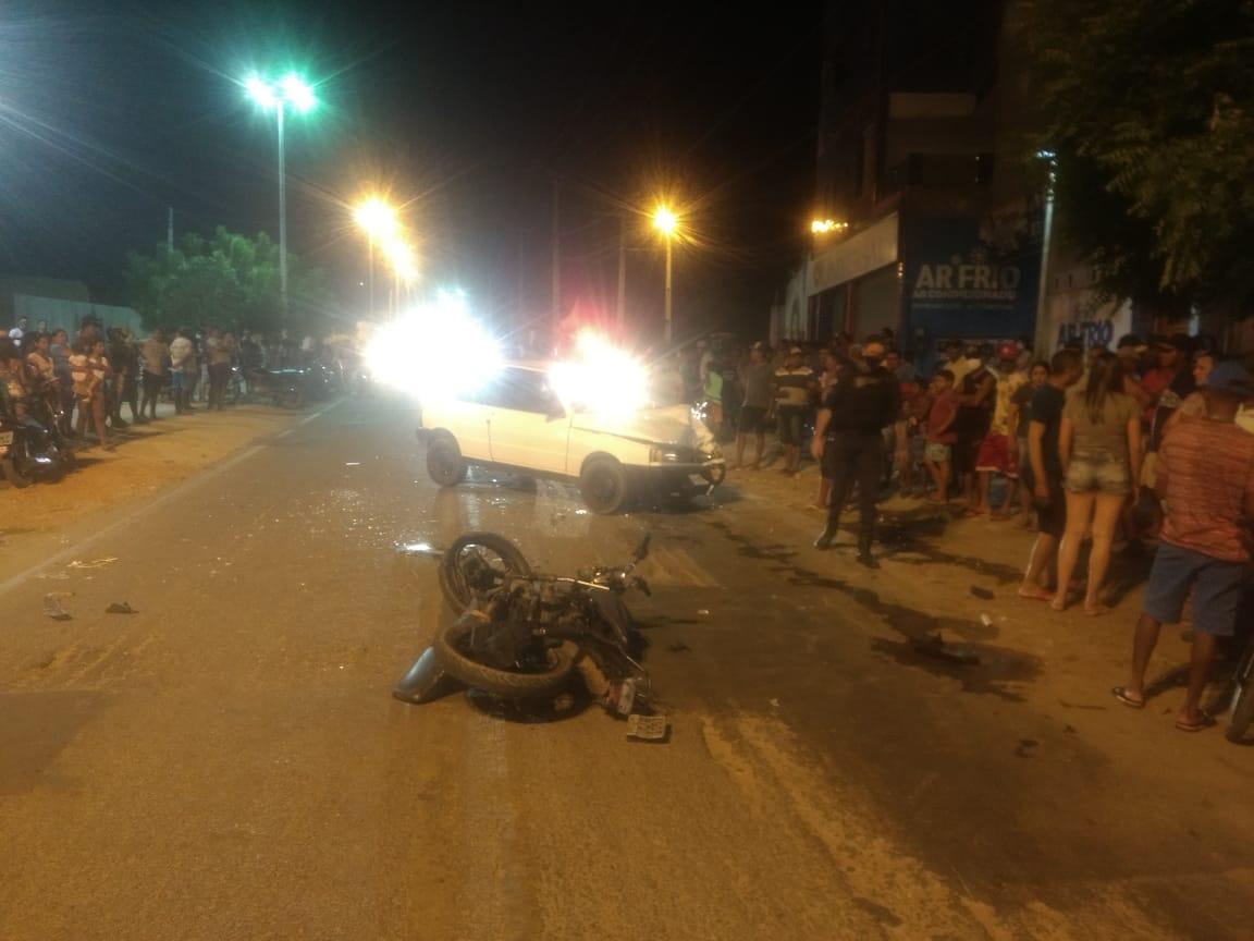 Motociclista fica gravemente ferido após colisão com carro em Mauriti 18.10.2020 FOTO REDES SOCIAIS