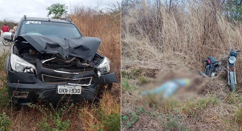 Motociclista morre em acidente com Camionete na CE 292 em Salitre FOTO REDES SOCIAIS