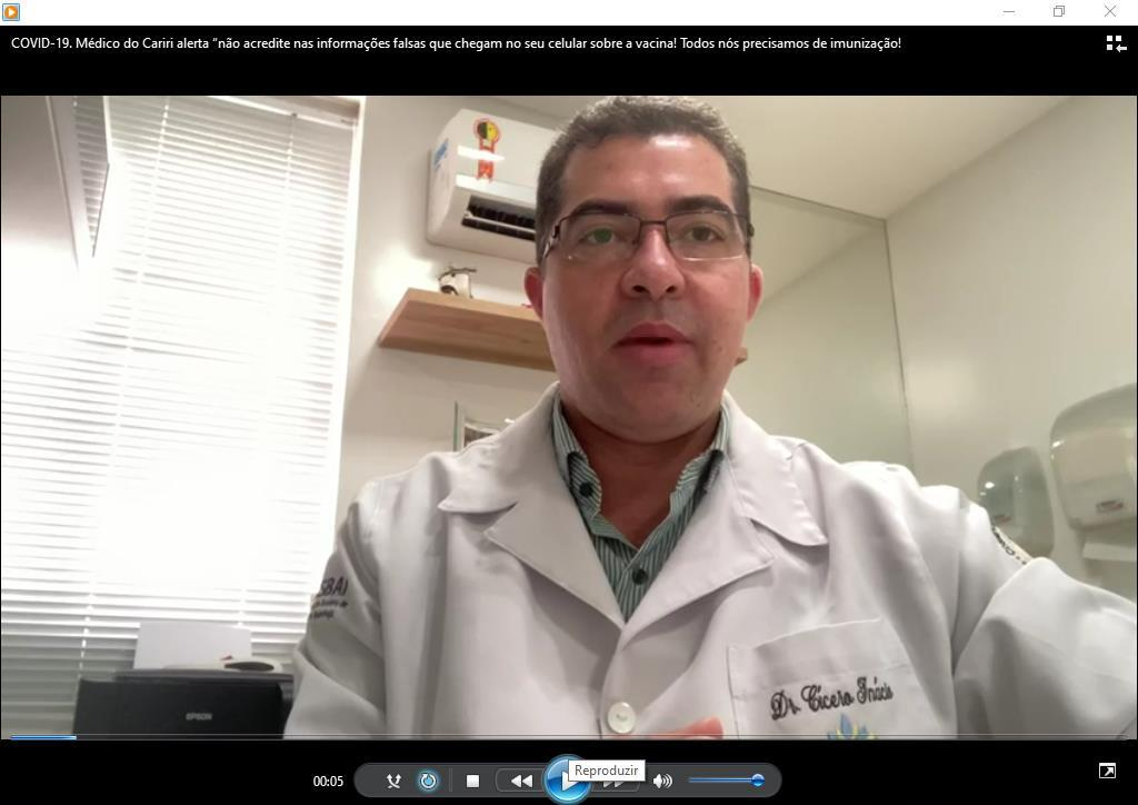 Médico pneumologista Cícero Inácio FOTO REPRODUÇÃO