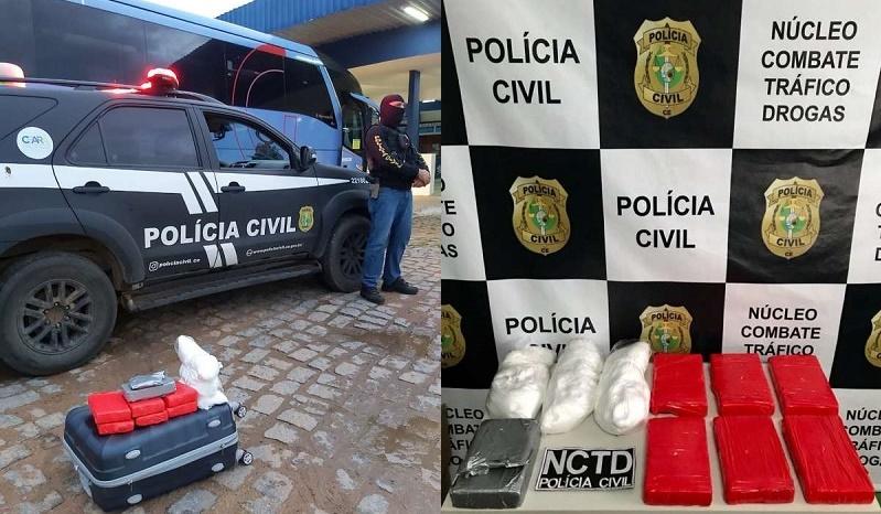 Piauiense de 28 anos é presa em Crato pela Policia Civil com quase 7,5 quilos de entorpecentes