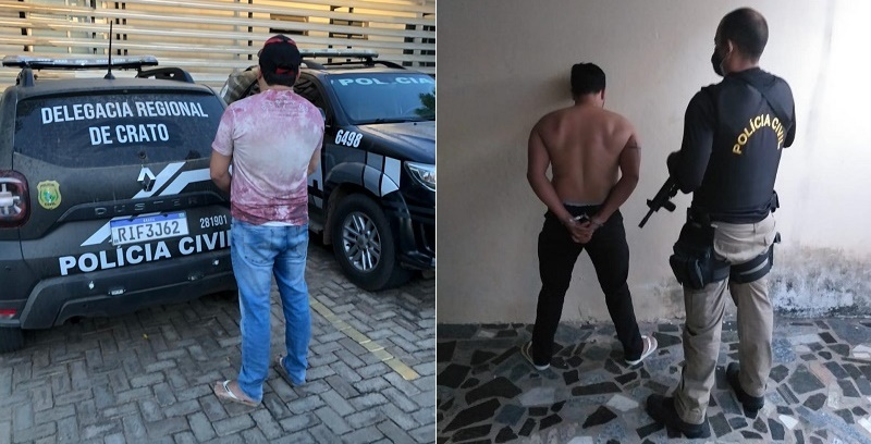 Suspeitos de extorsão mediante sequestro são presos pela Polícia Civil do Crato FOTO REDES SOCIAIS