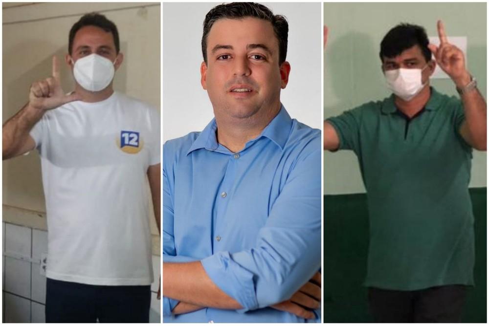 Dr. Lorim, em Missão Velha; Matheus Góis, em Pedra Branca; e Betão do James Bel, em Martinópoles, foram eleitos prefeitos neste domingo, no Ceará. — Foto: Reprodução