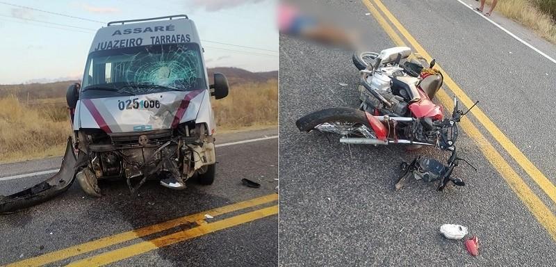 Acidente entre moto e topic mata homem de 51 anos na CE 375 em Assaré FOTO REDES SOCIAIS