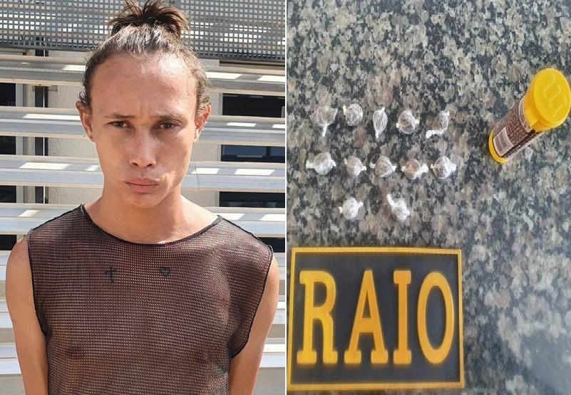 Cláudio Lucas Pereira Cidade, de 26 anos, flagrado pela polícia com 7,7 gramas de maconha em Crato 12.09.2021. Foto: Redes sociais