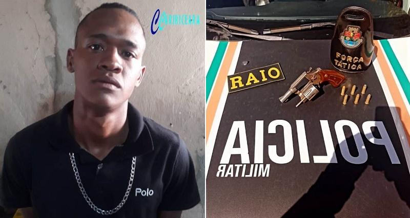Bruno Ribeiro dos Santos, 21 anos foi preso após denuncia anônima chegada a polícia Militar, de que ele estaria armado de revólver, no Bairro Alto da Alegria, em Barbalha. Foto: Agência Caririceara.com